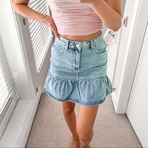 Forever 21 Denim Ruffle Skirt